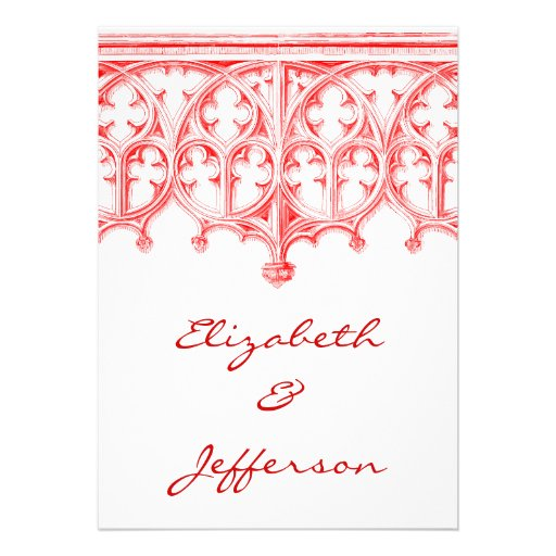 Rose Red Cathedral Wedding RSVP Personalized Invitations
