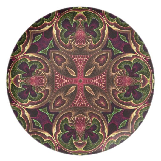 Rose Red Cross - Kaleidoscope Abstract Design Plate