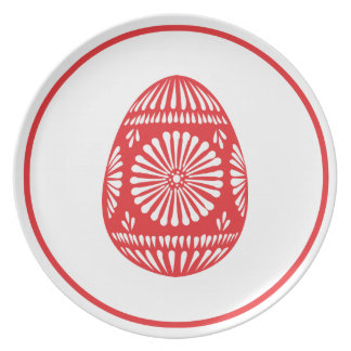Rose Red Easter Egg Classic Chic Melamine Plate
