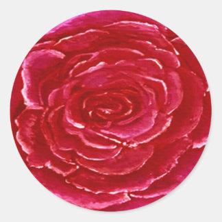 Rose Red Round Sticker