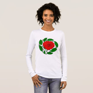 Rose Red T-Shirt for Women. Long-Sleeved