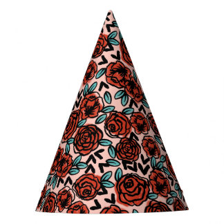 Rose Red Vintage Floral Flower  / Andrea Lauren Party Hat