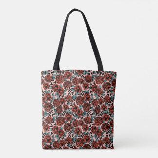 Rose Red Vintage Floral Flower  / Andrea Lauren Tote Bag
