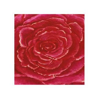 Rose Red Wood Print