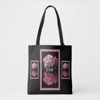 Rose Reflections Monogram Tote Bag
