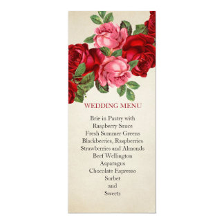 "Rose Romantic Elegant Wedding Menu 4"" X 9.25"" Invitation Card"