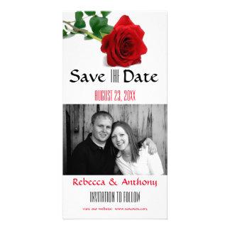 Rose rouge d'aquarelle - sauvez la carte postale photocartes personnalisées
