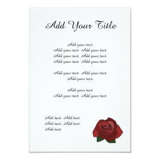 Rose rouge simple épousant l'invitation carton d'invitation 8,89 cm x 12,70 cm