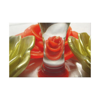 Rose Shaped Candles and Glass Base Canvas Print