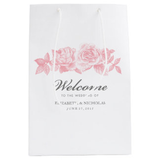 Rose Sketch Gift Bag in Pink