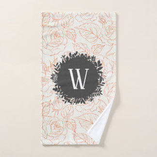 Rose Sketch Seamless Pattern with Monogram Bath Towel Set