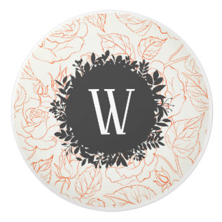 Rose Sketch Seamless Pattern with Monogram Ceramic Knob