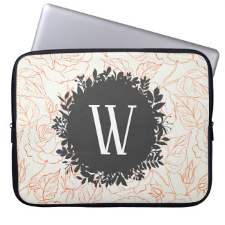 Rose Sketch Seamless Pattern with Monogram Laptop Sleeve
