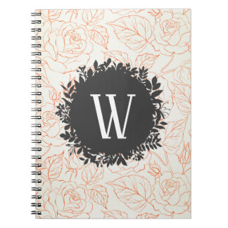 Rose Sketch Seamless Pattern with Monogram Notebook
