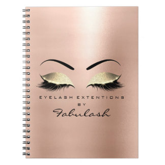 Rose Skin Gold Glitter Eyes Makeup Beauty Luxury Notebook