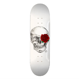 Rose Skull - White Skate Boards