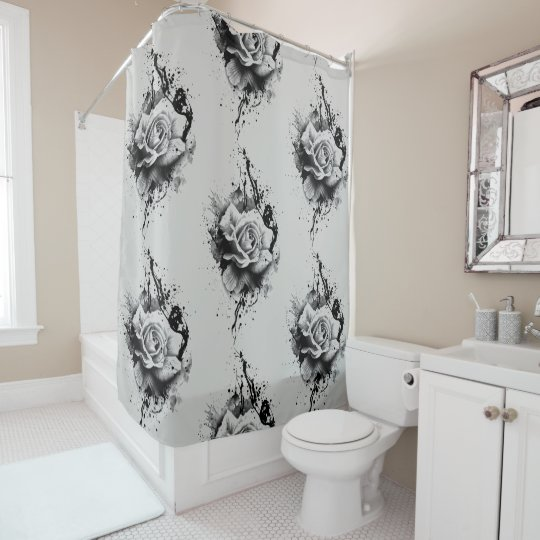 rose splatter customizable shower curtain