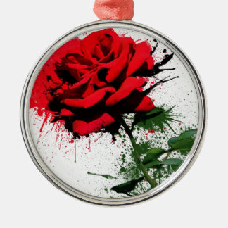 Rose Splatter Silver-Colored Round Ornament