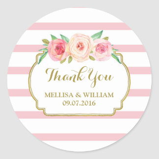 Rose Stripes Gold Pink Floral Wedding Favor Tags Round Sticker