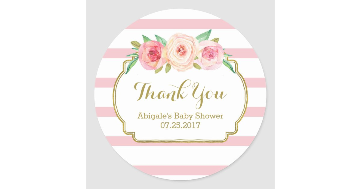 Rose Stripes Pink Floral Baby Shower Favour Tags Zazzle Ca