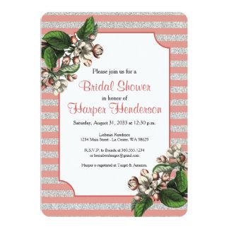 Rose Stripes with Apple Blossom Shower Invitation