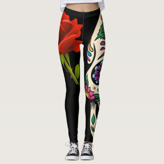 Rose Sugar Skull Leggings