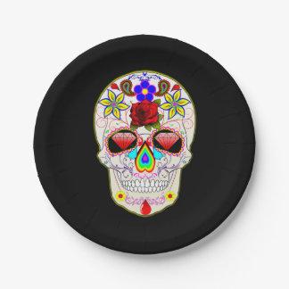 Rose Sugar Skull Paper Plate