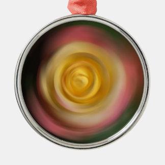 Rose Swirl Silver-Colored Round Ornament