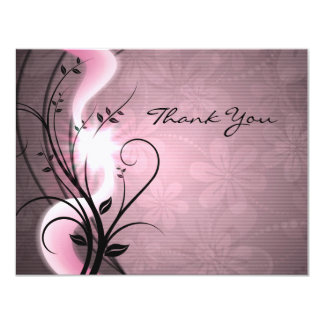 "Rose Swirls Flat Thank You Card 4.25"" X 5.5"" Invitation Card"