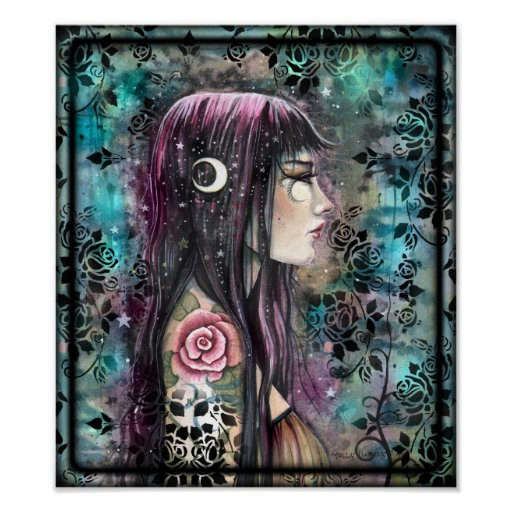 Rose Tattoo Contemporary Fantasy Art Poster