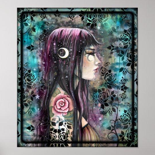 Rose Tattoo Contemporary Fantasy Art Poster
