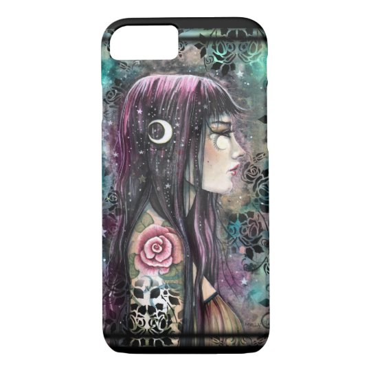 Rose Tattoo Gothic Bohemian Girl Fantasy Art iPhone 8/7 Case