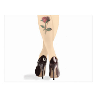Rose tattoo high heels postcard