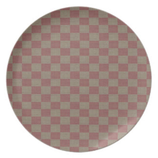 Rose & Taupe Checkered Plates