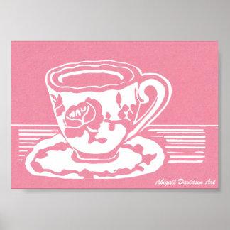 "Rose Teacup Poster, 7"" x 5"" Poster"