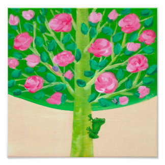 Rose Tree | Little Frog | Cheerful Pink & Green Poster