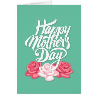rose typography mother day card