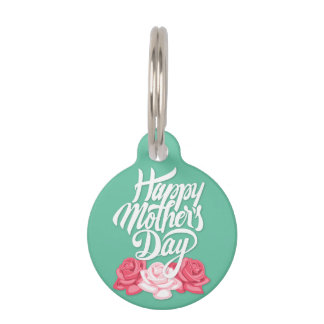 rose typography mother day pet ID tag
