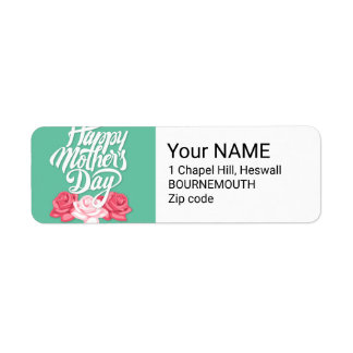 rose typography mother day return address label