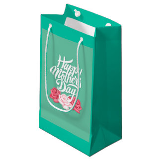 rose typography mother day small gift bag