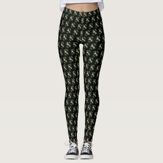 Rose Vine Black Backing Leggings
