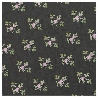 Rose Vine on Black Background Fabric