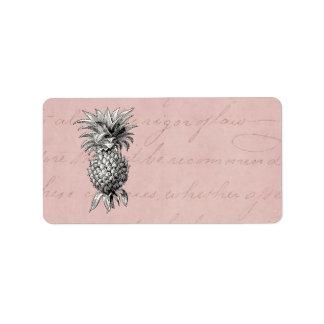 Rose vintage d'illustration d'ananas de 1800s étiquette d'adresse