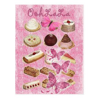 Rose vintage Paris de chocolat de tentation d'Oohl Cartes Postales