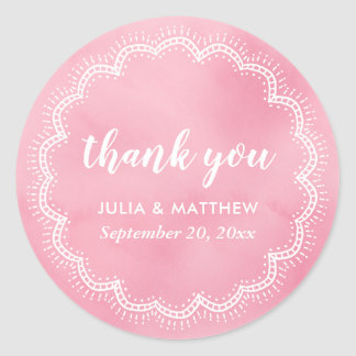 Rose Watercolor Bohemian Chic Thank You Wedding Classic Round Sticker