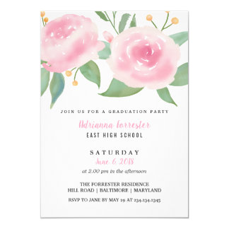 Rose Watercolor Whimsical Flowers Graduation Party Card