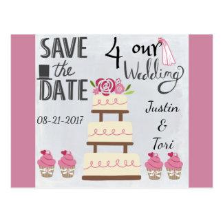 Rose Wedding Cake Save the Date Postcard