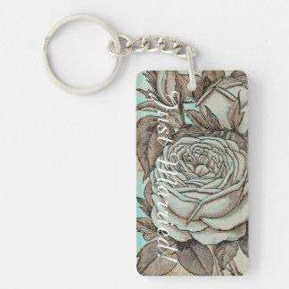 Rose Wedding Key Chain. Blue and Stone Colors Single-Sided Rectangular Acrylic Keychain