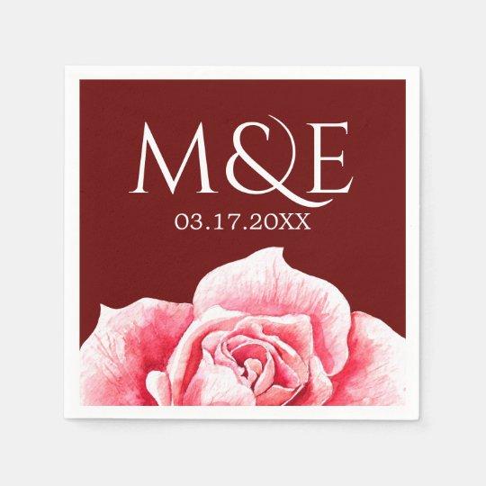 Rose Wedding Monogram Disposable Napkins