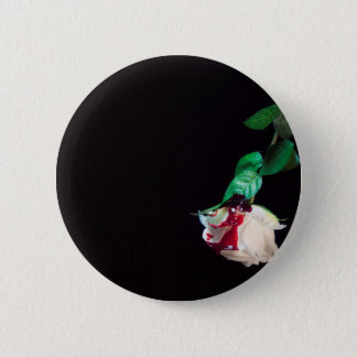 Rose white blood red side 2 inch round button